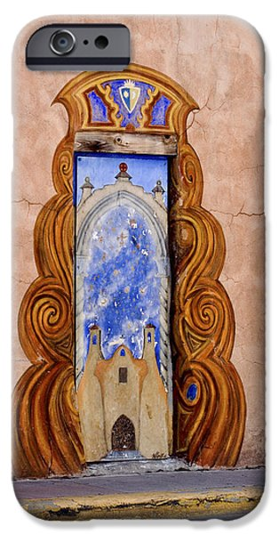 Mural Photographs iPhone Cases - Santa Fe Door Mural iPhone Case by Carol Leigh