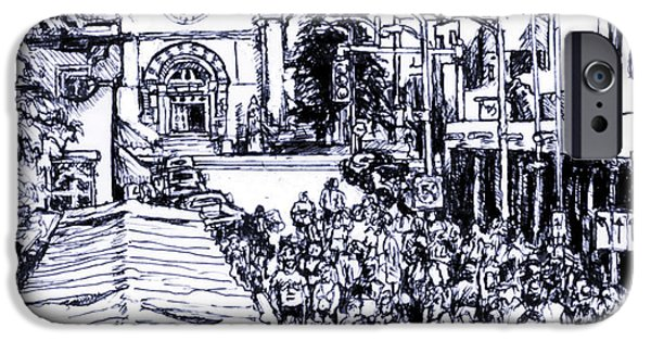 Pen And Ink iPhone Cases - Santa Fe market iPhone Case by Del Gaizo