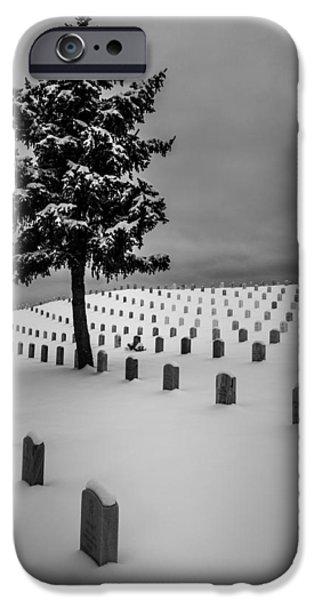 Santa Pyrography iPhone Cases - Santa Fe National Cemetery - 1 iPhone Case by Joe Ed White