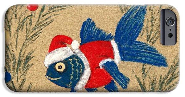 Christmas Greeting Pastels iPhone Cases - Santa Fish iPhone Case by Anastasiya Malakhova