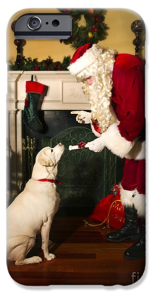 Friendly iPhone Cases - Santa Giving the Dog a Gift iPhone Case by Diane Diederich