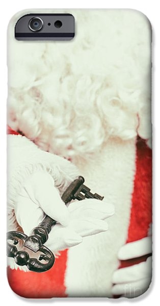 Father Christmas iPhone Cases - Santa Holding Key iPhone Case by Amanda And Christopher Elwell