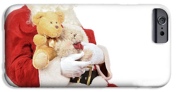 Father Christmas iPhone Cases - Santa Holding Teddy Bears iPhone Case by Amanda And Christopher Elwell