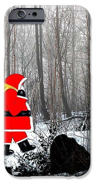 SANTA IN CHRISTMAS WOODLANDS iPhone Case by Patrick J Murphy