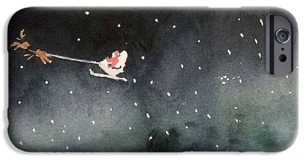Snowy Night iPhone Cases - Santa is Coming iPhone Case by Yoshiko Mishina