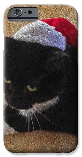 Santa Kitty iPhone Case by Cheryl Young