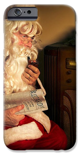 Santa Listening to the Weather Report iPhone Case by Diane Diederich