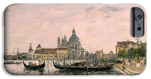 Art Of Building iPhone Cases - Santa Maria della Salute and the Dogana iPhone Case by Eugene Louis Boudin