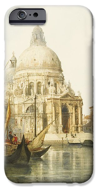 Harbor Drawings iPhone Cases - Santa Maria della Salute iPhone Case by Jacques Guiaud