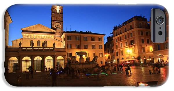 Recently Sold -  - Painter Photographs iPhone Cases - Santa Maria in Trastevere in Rome iPhone Case by Studio Photo Iris