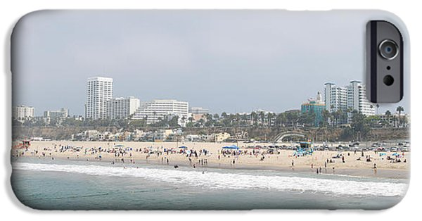 Santa iPhone Cases - Santa Monica Beach, Santa Monica, Los iPhone Case by Panoramic Images