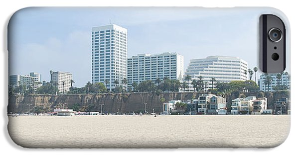 Santa iPhone Cases - Santa Monica Beach With Buildings iPhone Case by Panoramic Images
