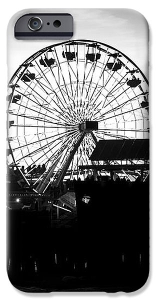 Santa Monica Ferris Wheel Black and White Photo iPhone Case by Paul Velgos