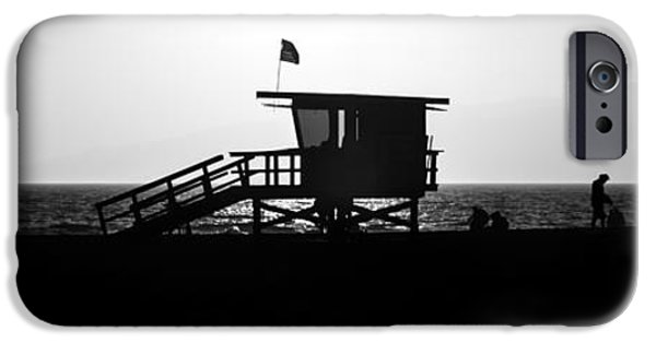 Santa iPhone Cases - Santa Monica Lifeguard Tower Black and White Picture iPhone Case by Paul Velgos
