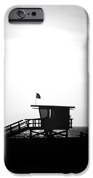 Santa Monica Lifeguard Tower in Black and White iPhone Case by Paul Velgos