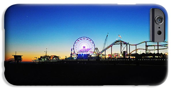 Santa Pyrography iPhone Cases - Santa Monica Pier at blue phase iPhone Case by Steffen Schumann