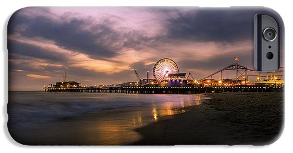 California Tourist Spots iPhone Cases - Santa Monica Pier Blue Hour iPhone Case by Jerome Obille