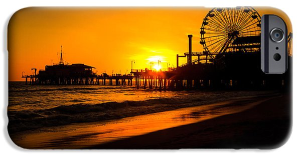 Santa iPhone Cases - Santa Monica Pier California Sunset Photo iPhone Case by Paul Velgos