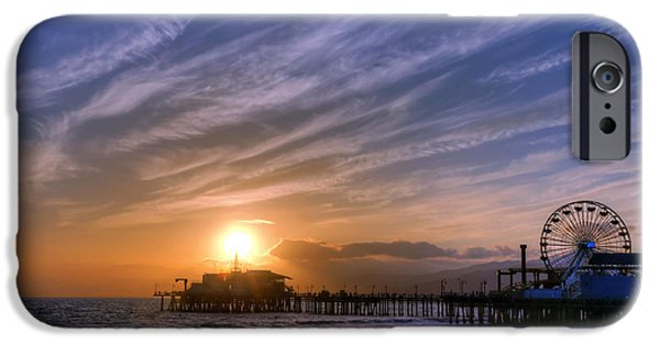 Santa iPhone Cases - Santa Monica Pier iPhone Case by Eddie Yerkish