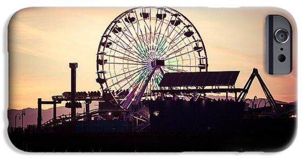Roller Coaster iPhone Cases - Santa Monica Pier Ferris Wheel Retro Photo iPhone Case by Paul Velgos
