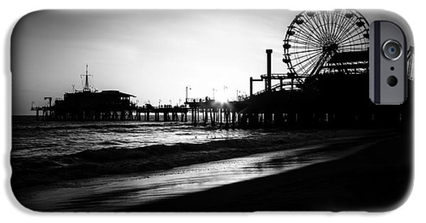 Santa iPhone Cases - Santa Monica Pier in Black and White iPhone Case by Paul Velgos