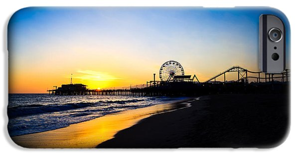 Roller Coaster iPhone Cases - Santa Monica Pier Pacific Ocean Sunset iPhone Case by Paul Velgos