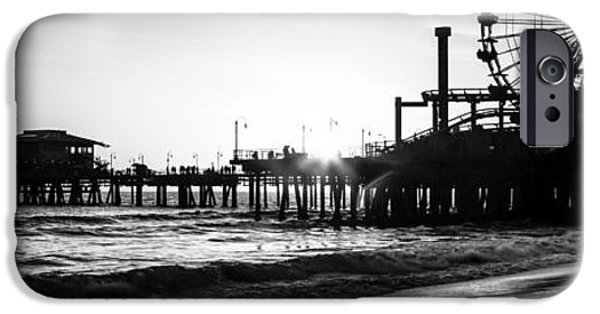 Pacific Ocean Prints iPhone Cases - Santa Monica Pier Panorama Black and White Photo iPhone Case by Paul Velgos