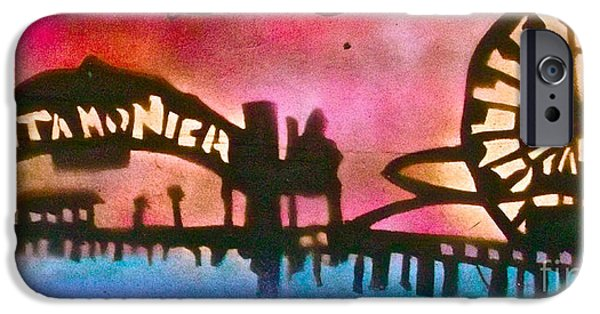 Kobe Paintings iPhone Cases - Santa Monica Pier RED iPhone Case by Tony B Conscious