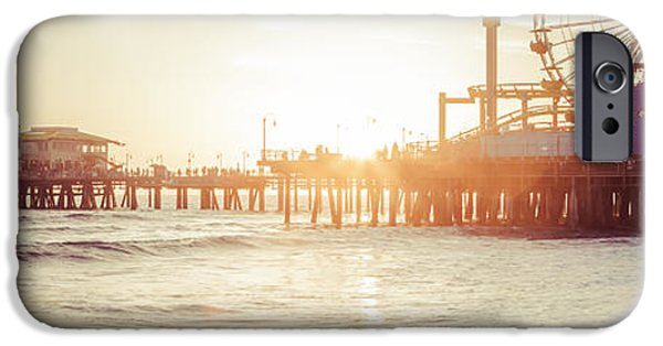 Pacific Ocean Prints iPhone Cases - Santa Monica Pier Retro Sunset Panorama Photo iPhone Case by Paul Velgos