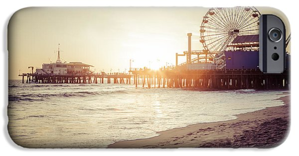 Roller Coaster iPhone Cases - Santa Monica Pier Retro Sunset Picture iPhone Case by Paul Velgos