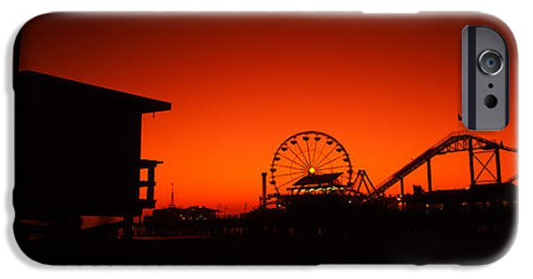 Santa iPhone Cases - Santa Monica Pier, Santa Monica Beach iPhone Case by Panoramic Images