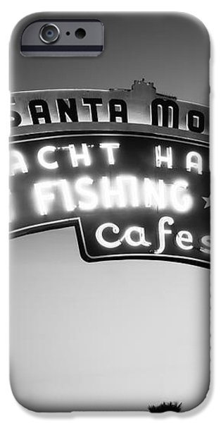 Santa Monica Pier Sign in Black and White iPhone Case by Paul Velgos