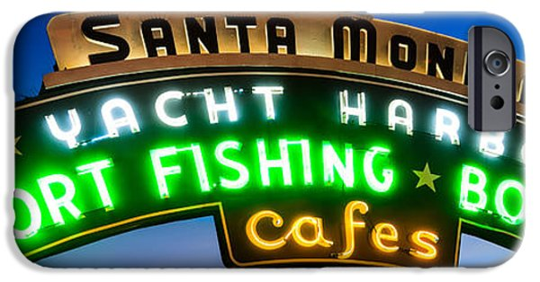 Santa iPhone Cases - Santa Monica Pier Sign Panorama Picture iPhone Case by Paul Velgos