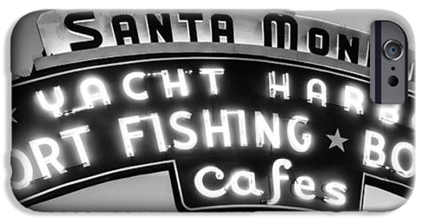 Santa iPhone Cases - Santa Monica Pier Sign Panoramic Black and White Photo iPhone Case by Paul Velgos