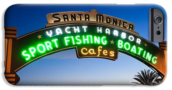 Sign iPhone Cases - Santa Monica Pier Sign iPhone Case by Paul Velgos