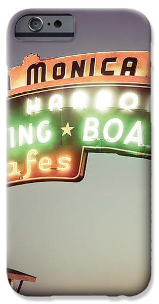 Santa Monica Pier Sign Retro Photo iPhone Case by Paul Velgos