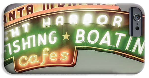 Santa iPhone Cases - Santa Monica Pier Sign Vintage Panoramic Photo iPhone Case by Paul Velgos