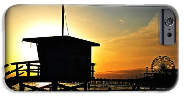 Santa Pyrography iPhone Cases - Santa Monica Pier iPhone Case by Steffen Schumann