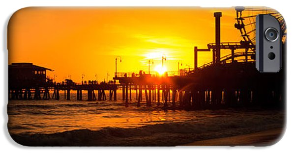 Pacific Ocean Prints iPhone Cases - Santa Monica Pier Sunset Panorama Photo iPhone Case by Paul Velgos