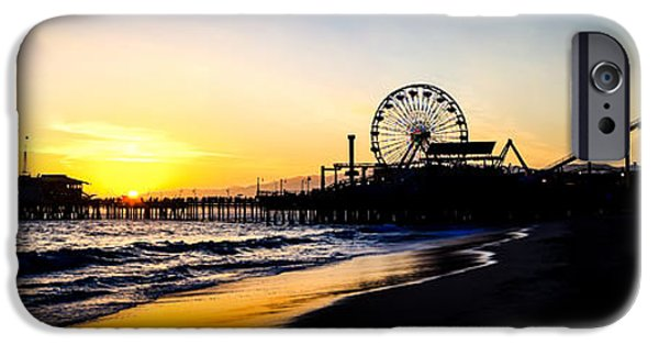 Santa iPhone Cases - Santa Monica Pier Sunset Panoramic Photo iPhone Case by Paul Velgos