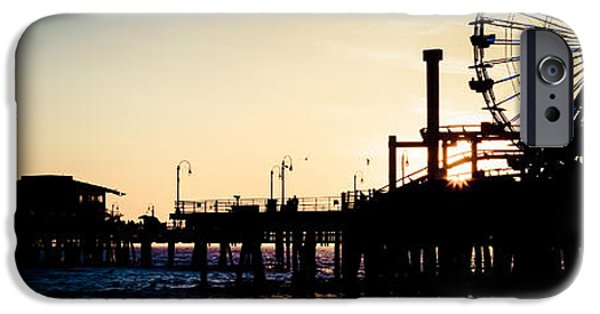 Pacific Ocean Prints iPhone Cases - Santa Monica Pier Sunset Retro Panoramic Photo iPhone Case by Paul Velgos