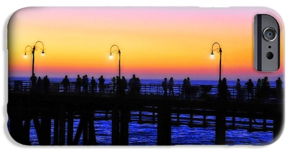 A Summer Evening Landscape iPhone Cases - Santa Monica Pier Sunset Silhouettes iPhone Case by Lynn Bauer