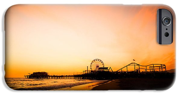 Amusements iPhone Cases - Santa Monica Pier Sunset Southern California iPhone Case by Paul Velgos