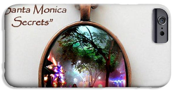 Santa Jewelry iPhone Cases - Santa Monica Secrets-Custom Pendant iPhone Case by Jennie Breeze
