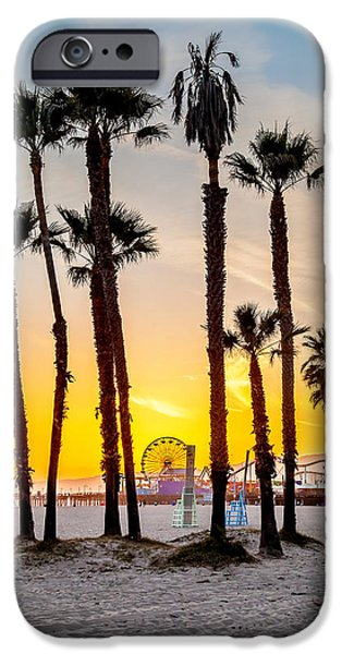 Amusements iPhone Cases - Santa Monica Sunset 2 iPhone Case by Az Jackson