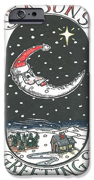 Christmas Eve Drawings iPhone Cases - Santa Moon iPhone Case by Ralf Schulze