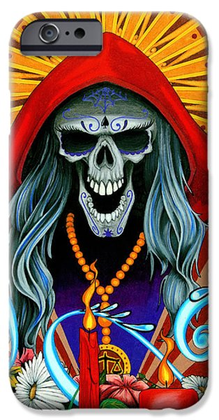 Skeleton Drawings iPhone Cases - Santa Muerte iPhone Case by Steve Hartwell