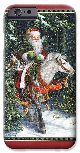Fir Trees iPhone Cases - Santa of the Northern Forest iPhone Case by Lynn Bywaters