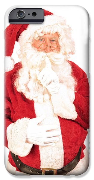 Father Christmas iPhone Cases - Santa Saying Shush iPhone Case by Amanda And Christopher Elwell