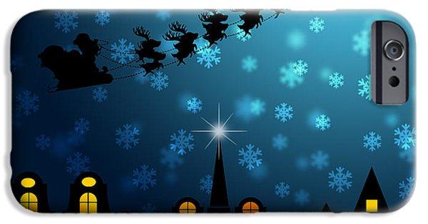 Winter Scene iPhone Cases - Santa Sleigh Reindeer Flying Over Victorian Houses iPhone Case by JPLDesigns